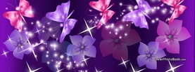 Purple Pink Flowers Butterflies, Free Facebook Timeline Profile Cover, Abstract