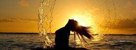 Sunset Sea Silhouette Woman Splashes, Free Facebook Timeline Profile Cover, Abstract