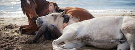 Brown White Horses Woman Beach, Free Facebook Timeline Profile Cover, Animals