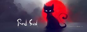 Red Sun Black Cat Dark, Free Facebook Timeline Profile Cover, Animals