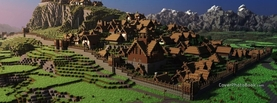 Minecraft Village, Free Facebook Timeline Profile Cover, Characters
