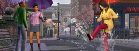 Sims SimCity Rain and People, Free Facebook Timeline Profile Cover, Characters