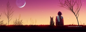 True Friendship Girl and Dog Moon, Free Facebook Timeline Profile Cover, Emotions