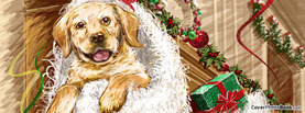 Christmas Dog Cartoon Drawing, Free Facebook Timeline Profile Cover, Holidays