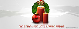 Christmas God Bless Candle Wreath, Free Facebook Timeline Profile Cover, Holidays