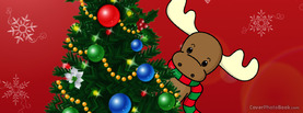 Christmas Happy Holidays Moose Tree, Free Facebook Timeline Profile Cover, Holidays