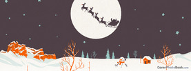 Christmas Retro Moon Reindeer Sleigh, Free Facebook Timeline Profile Cover, Holidays