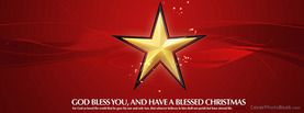 Christmas Star God Bless Red, Free Facebook Timeline Profile Cover, Holidays