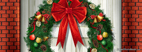 Christmas Wreath Bricks Door, Free Facebook Timeline Profile Cover, Holidays