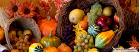 Cornucopia Thanksgiving Fruits Flowers, Free Facebook Timeline Profile Cover, Holidays