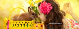Cute Easter Rabbit and Girl Nose, Free Facebook Timeline Profile Cover, Holidays
