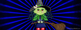 Cute Green Halloween Witch, Free Facebook Timeline Profile Cover, Strange