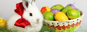 Cute White Easter Rabbit Bow Eggs, Free Facebook Timeline Profile Cover, Holidays