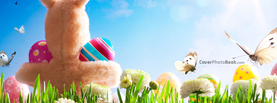 Easter Bunny Doll Holding Eggs Butterflies, Free Facebook Timeline Profile Cover, Holidays