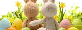 Easter Bunny Toys Sitting Hug Eggs, Free Facebook Timeline Profile Cover, Holidays