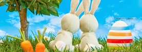 Easter Bunny Toys Together on Grass, Free Facebook Timeline Profile Cover, Holidays