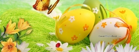 Easter Daisies Butterfly Eggs Grass, Free Facebook Timeline Profile Cover, Holidays