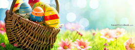 Easter Egg Basket on Grass Flowers Light Bokeh, Free Facebook Timeline Profile Cover, Holidays