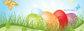 Easter Eggs Illustration Butterfly, Free Facebook Timeline Profile Cover, Holidays