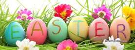 Easter Eggs Letters Flowers Grass, Free Facebook Timeline Profile Cover, Holidays