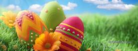 Easter Eggs Paint Dotted in Grass Flowers, Free Facebook Timeline Profile Cover, Holidays