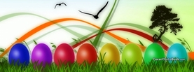 Easter Eggs Rainbow Colors Ribbons Illustration, Free Facebook Timeline Profile Cover, Holidays