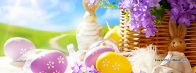 Easter Eggs Toy Rabbits Purple Flowers Sun, Free Facebook Timeline Profile Cover, Holidays