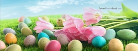Easter Eggs on Grass Landscape Sky Flowers, Free Facebook Timeline Profile Cover, Holidays