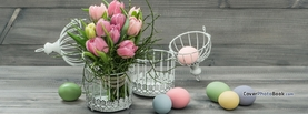 Easter Eggs on Grey Wood Cage Flowers, Free Facebook Timeline Profile Cover, Holidays