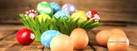 Easter Eggs on Wooden Floor, Free Facebook Timeline Profile Cover, Holidays