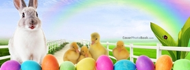 Easter Rabbit Rainbow Ducklings, Free Facebook Timeline Profile Cover, Holidays
