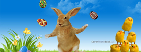 Funny Easter Rabbit Juggling Eggs Yellow Chicks, Free Facebook Timeline Profile Cover, Holidays