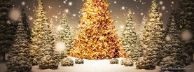 Golden Christmas Tree Snow, Free Facebook Timeline Profile Cover, Holidays