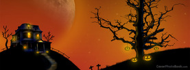 Halloween House Hill Moon, Free Facebook Timeline Profile Cover, Holidays