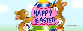 Happy Easter Bunnies Painting Egg Cartoon, Free Facebook Timeline Profile Cover, Holidays