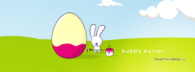 Happy Easter Cartoon Bunny Painting Egg, Free Facebook Timeline Profile Cover, Holidays
