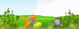 Happy Easter Cartoon Landscape, Free Facebook Timeline Profile Cover, Holidays