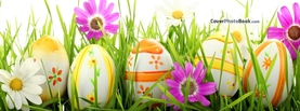 Happy Easter Eggs in Grass Flowers, Free Facebook Timeline Profile Cover, Holidays