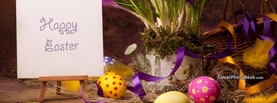 Happy Easter Note Eggs Flowers, Free Facebook Timeline Profile Cover, Holidays