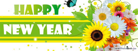 Happy New Year Flowers Butterfly, Free Facebook Timeline Profile Cover, Holidays