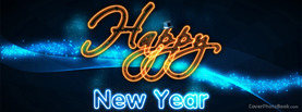 Happy New Year Neon Light Hat, Free Facebook Timeline Profile Cover, Holidays