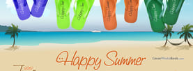 June Happy Summer Slippers Beach, Free Facebook Timeline Profile Cover, Holidays
