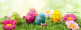 Painted Easter Eggs on Grass Bokeh, Free Facebook Timeline Profile Cover, Holidays