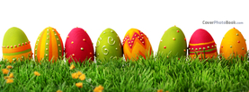 Painted Easter Holiday Eggs in Grass, Free Facebook Timeline Profile Cover, Holidays