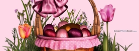 Pink Easter Basket with Eggs Bow, Free Facebook Timeline Profile Cover, Holidays