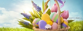 Pretty Colorful Easter Eggs in Basket Grass Sunlight, Free Facebook Timeline Profile Cover, Holidays