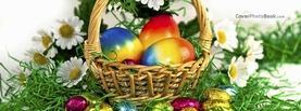 Rainbow Easter Eggs in Basket Flowers, Free Facebook Timeline Profile Cover, Holidays