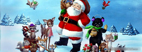 Santa Christmas Animals, Free Facebook Timeline Profile Cover, Holidays