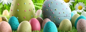 Speckled Easter Eggs in Grass Flowers, Free Facebook Timeline Profile Cover, Holidays
