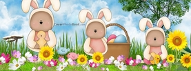 Teddy Bears in Easter Bunny Costumes, Free Facebook Timeline Profile Cover, Holidays